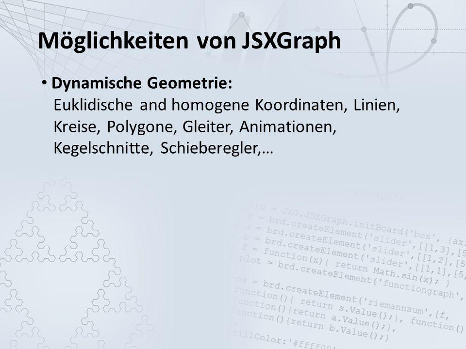 Möglichkeiten von JSXGraph Dynamische Geometrie: Euklidische and homogene Koordinaten, Linien, Kreise, Polygone, Gleiter, Animationen, Kegelschnitte, Schieberegler,… Kurven: Funktionsgraphen, parametrisierte Kurven, Datenplots, Bezierkurven