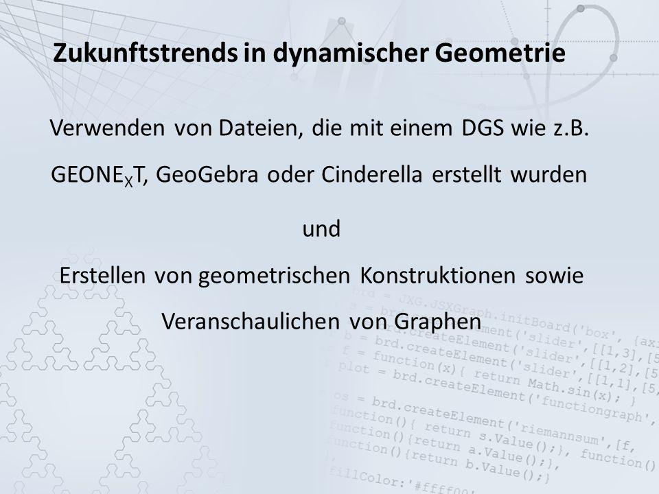 Zukunftstrends in dynamischer Geometrie Verwenden von Dateien, die mit einem DGS wie z.B.