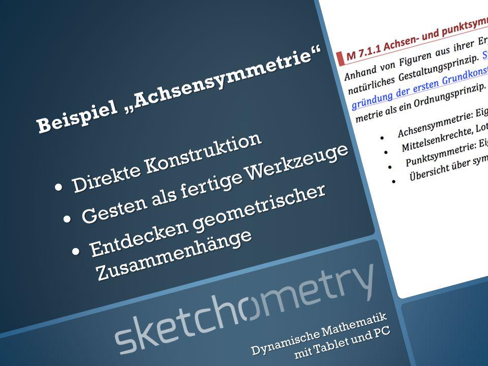 Beispiel Achsensymmetrie Direkte Konstruktion Direkte Konstruktion Gesten als fertige Werkzeuge Gesten als fertige Werkzeuge Entdecken geometrischer Zusammenhänge Entdecken geometrischer Zusammenhänge Dynamische Mathematik mit Tablet und PC
