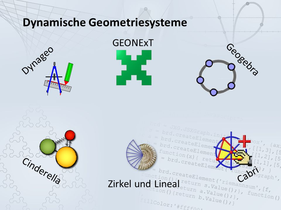 Dynamische Geometriesysteme Geogebra Cabri GEONExT Cinderella Zirkel und Lineal Dynageo