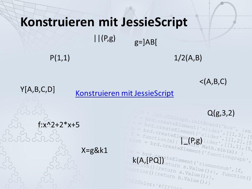 Konstruieren mit JessieScript P(1,1) g=]AB[ k(A,[PQ]) f:x^2+2*x+5 Q(g,3,2) ||(P,g) |_(P,g) Y[A,B,C,D] <(A,B,C) X=g&k1 1/2(A,B)