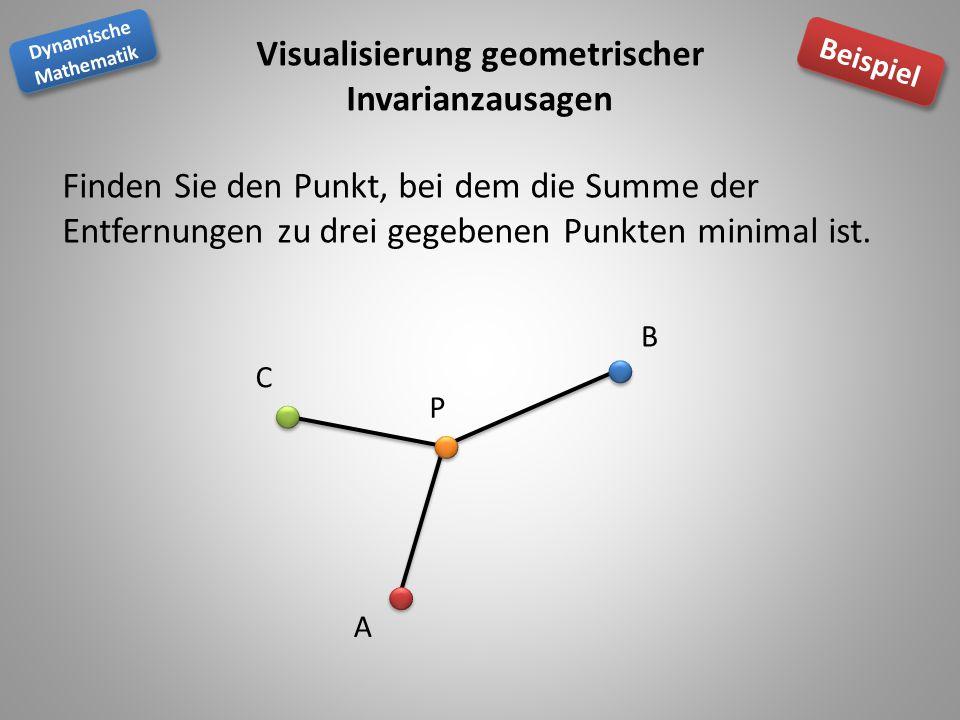 Dynamische Mathematik Dynamische Mathematik Beispiel Visualisierung geometrischer Invarianzausagen Finden Sie den Punkt, bei dem die Summe der Entfernungen zu drei gegebenen Punkten minimal ist.