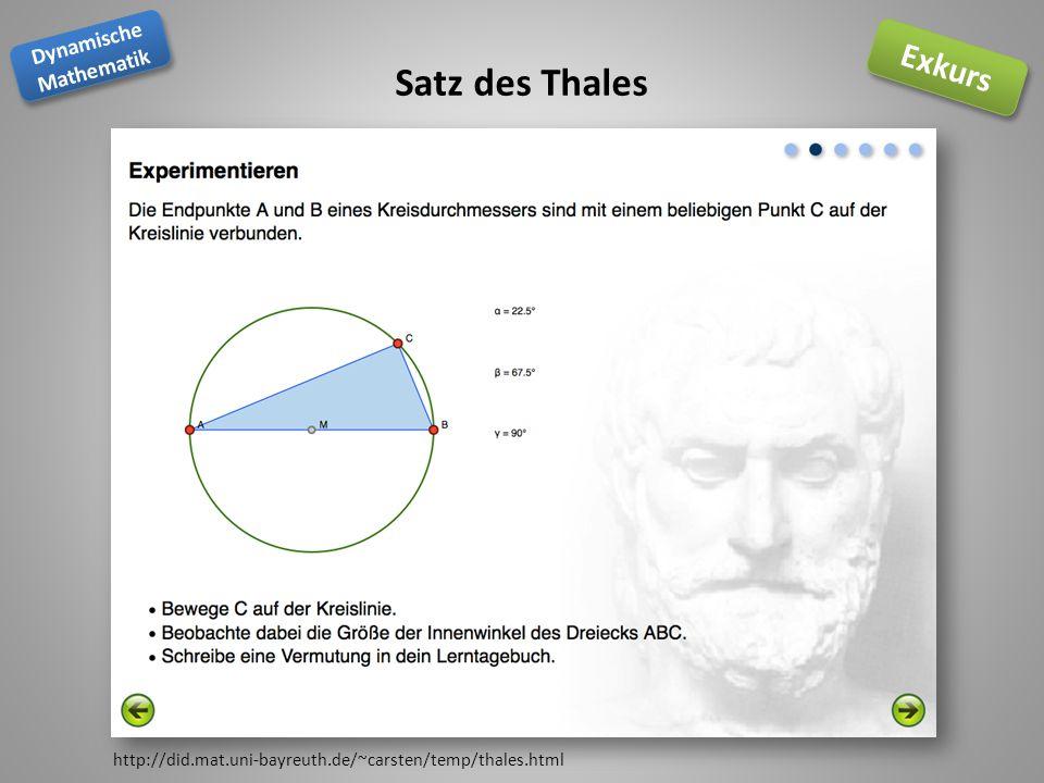 Dynamische Mathematik Dynamische Mathematik Exkurs Satz des Thales http://did.mat.uni-bayreuth.de/~carsten/temp/thales.html