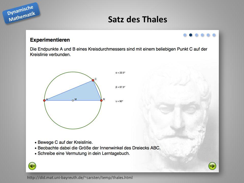 Dynamische Mathematik Dynamische Mathematik Satz des Thales http://did.mat.uni-bayreuth.de/~carsten/temp/thales.html