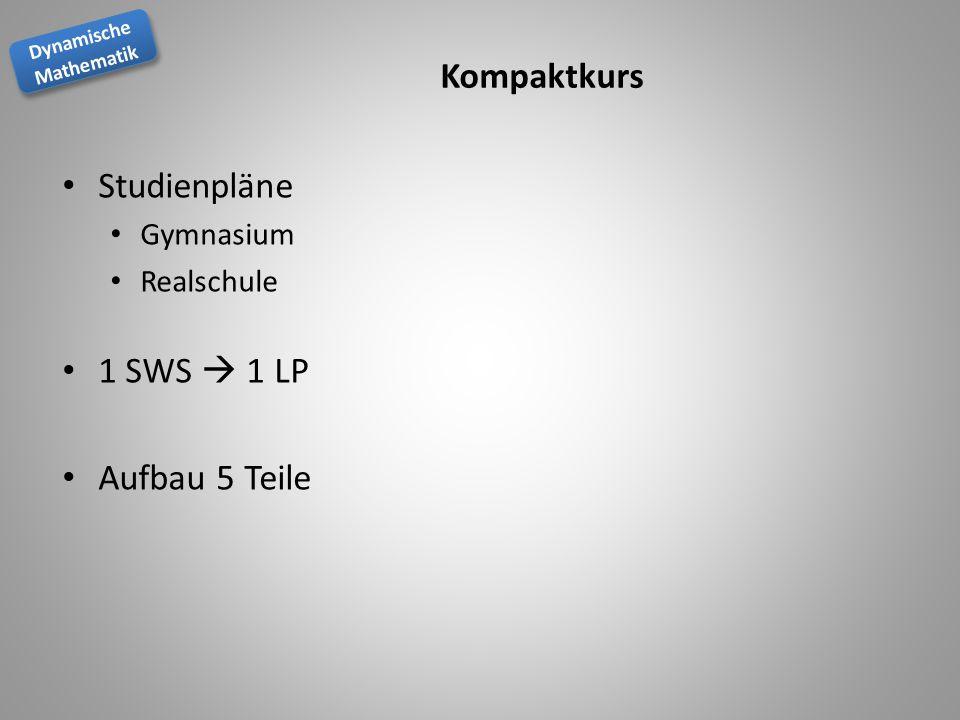 Dynamische Mathematik Dynamische Mathematik Kompaktkurs Studienpläne Gymnasium Realschule 1 SWS 1 LP Aufbau 5 Teile