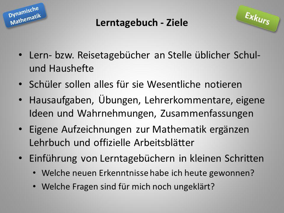 Dynamische Mathematik Dynamische Mathematik Exkurs Lerntagebuch - Ziele Lern- bzw.