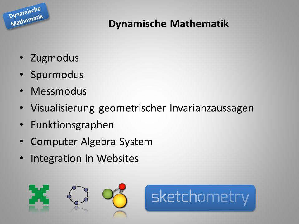 Dynamische Mathematik Dynamische Mathematik Dynamische Mathematik Zugmodus Spurmodus Messmodus Visualisierung geometrischer Invarianzaussagen Funktionsgraphen Computer Algebra System Integration in Websites