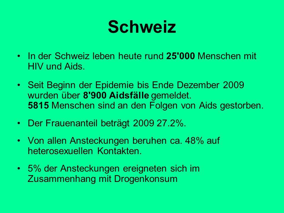 Schweiz In der Schweiz leben heute rund 25'000 Menschen mit HIV und Aids. Seit Beginn der Epidemie bis Ende Dezember 2009 wurden über 8'900 Aidsfälle
