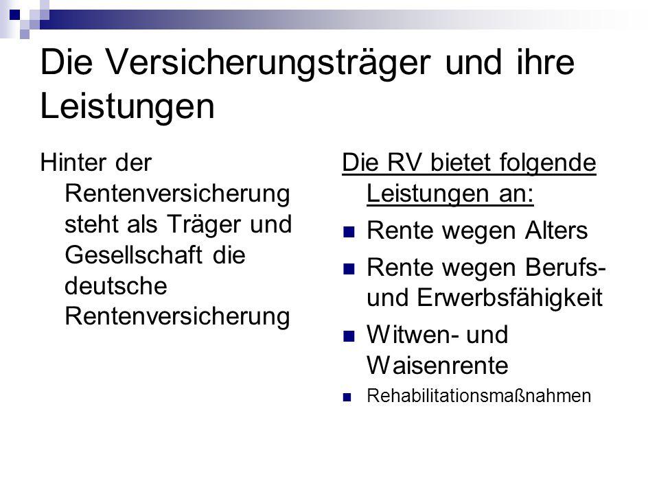 Die Versicherungsträger und ihre Leistungen Hinter der Rentenversicherung steht als Träger und Gesellschaft die deutsche Rentenversicherung Die RV bie