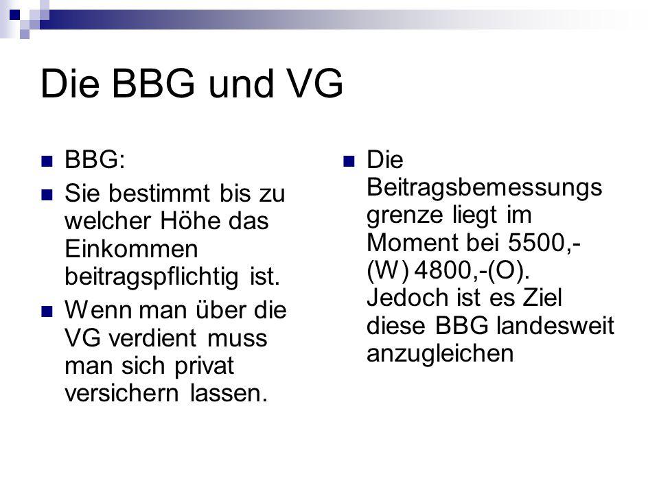 Die BBG und VG BBG: Sie bestimmt bis zu welcher Höhe das Einkommen beitragspflichtig ist. Wenn man über die VG verdient muss man sich privat versicher
