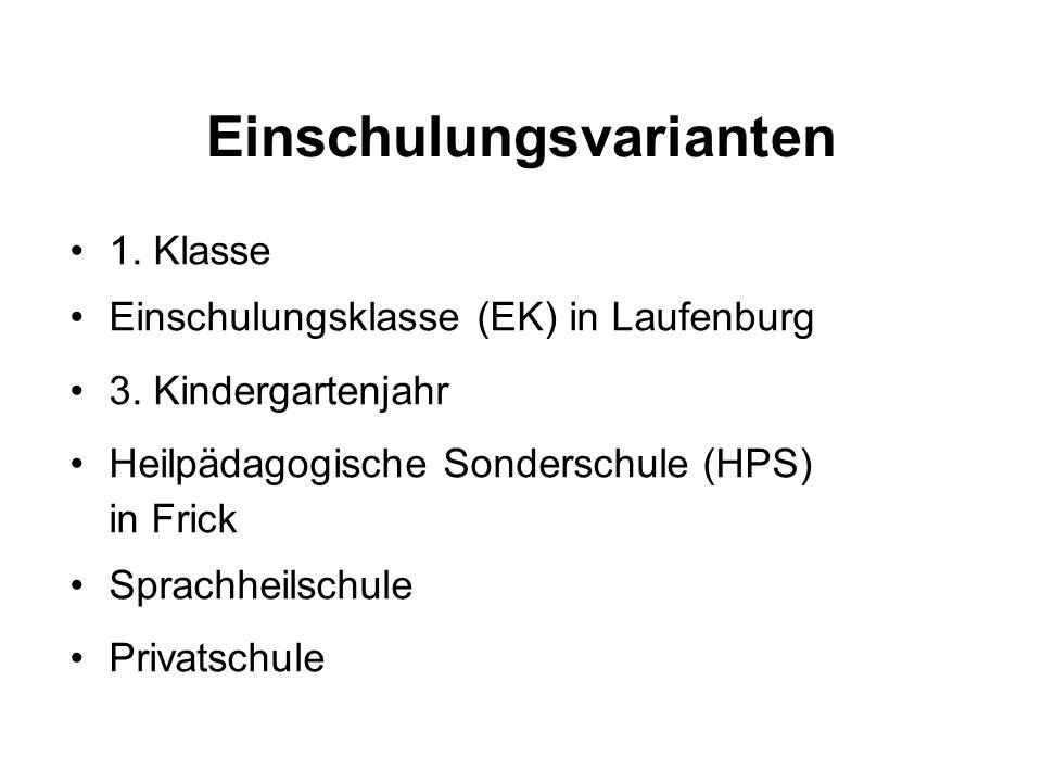 Einschulungsvarianten 1. Klasse Einschulungsklasse (EK) in Laufenburg 3. Kindergartenjahr Heilpädagogische Sonderschule (HPS) in Frick Sprachheilschul