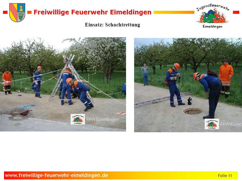 Freiwillige Feuerwehr Eimeldingen Freiwillige Feuerwehr Eimeldingen Folie 11 www.freiwillige-feuerwehr-eimeldingen.de Einsatz: Schachtrettung