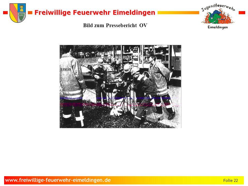 Freiwillige Feuerwehr Eimeldingen Freiwillige Feuerwehr Eimeldingen Folie 22 www.freiwillige-feuerwehr-eimeldingen.de Bild zum Pressebericht OV