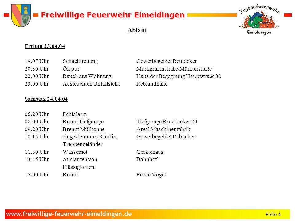 Freiwillige Feuerwehr Eimeldingen Freiwillige Feuerwehr Eimeldingen Folie 4 www.freiwillige-feuerwehr-eimeldingen.de Ablauf Freitag 23.04.04 19.07 Uhr