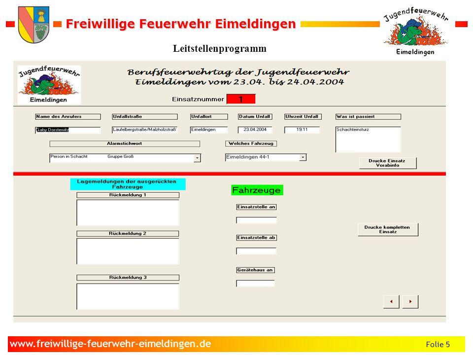 Freiwillige Feuerwehr Eimeldingen Freiwillige Feuerwehr Eimeldingen Folie 5 www.freiwillige-feuerwehr-eimeldingen.de Leitstellenprogramm