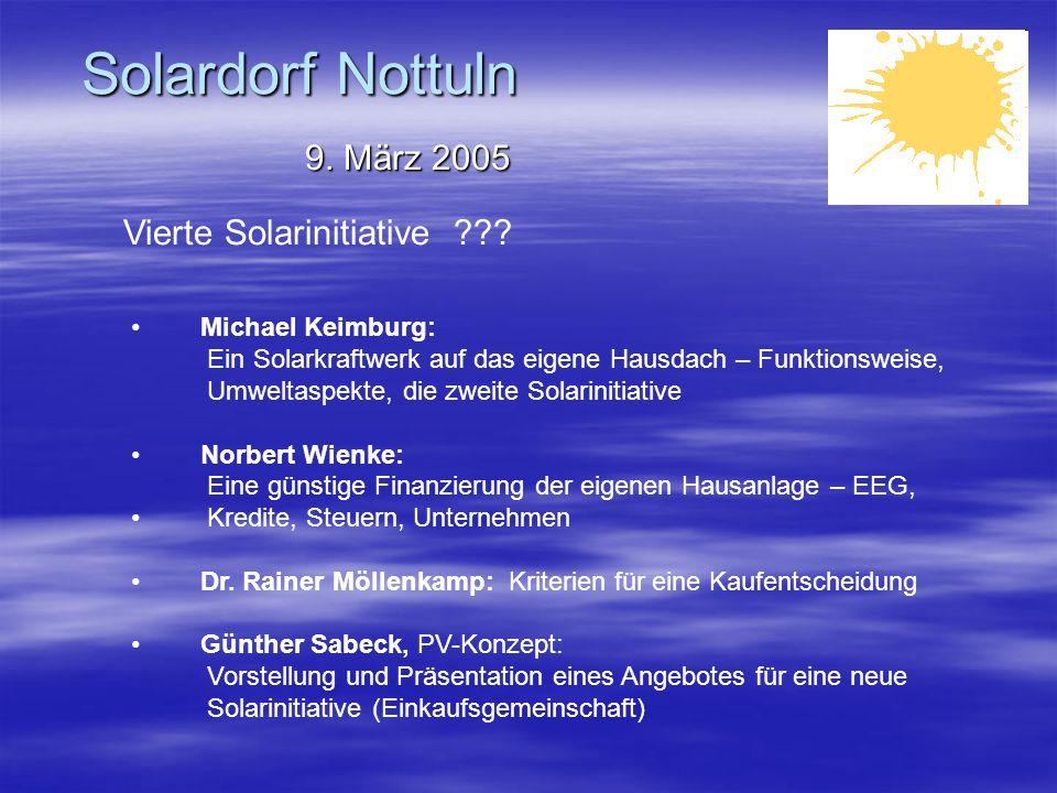 Solardorf Nottuln 9.März 2005 Vierte Solarinitiative ??.