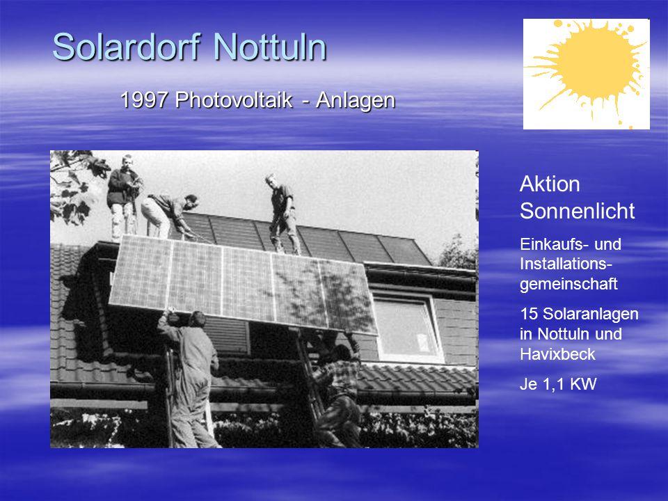 Solardorf Nottuln 1997 Photovoltaik - Anlagen Aktion Sonnenlicht Einkaufs- und Installations- gemeinschaft 15 Solaranlagen in Nottuln und Havixbeck Je 1,1 KW