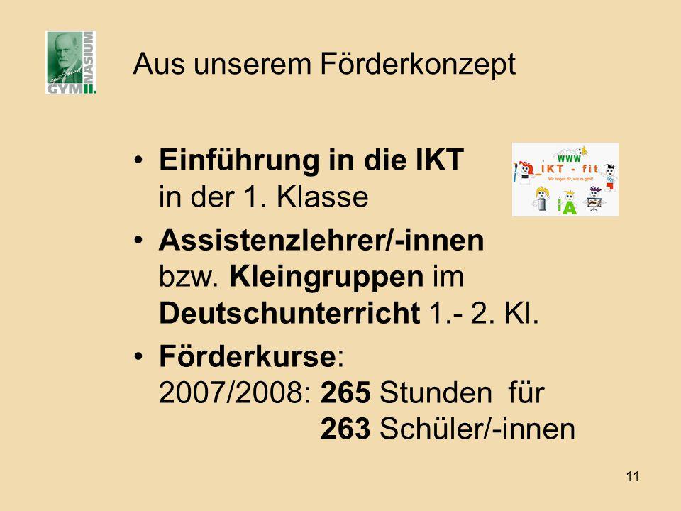 11 Aus unserem Förderkonzept Einführung in die IKT in der 1. Klasse Assistenzlehrer/-innen bzw. Kleingruppen im Deutschunterricht 1.- 2. Kl. Förderkur