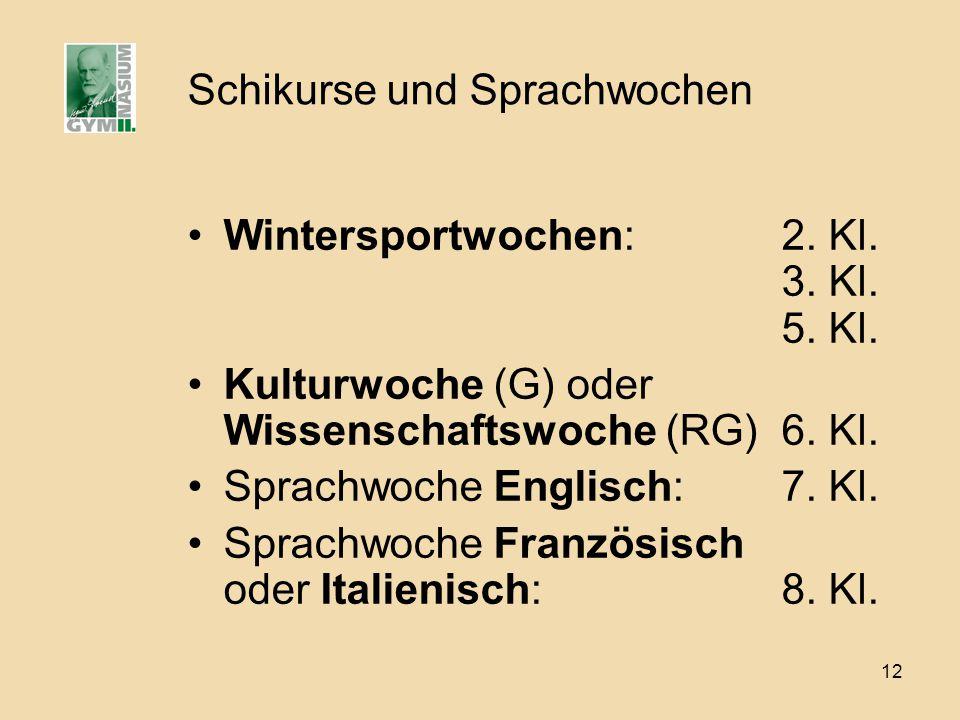 12 Schikurse und Sprachwochen Wintersportwochen:2. Kl. 3. Kl. 5. Kl. Kulturwoche (G) oder Wissenschaftswoche (RG)6. Kl. Sprachwoche Englisch:7. Kl. Sp
