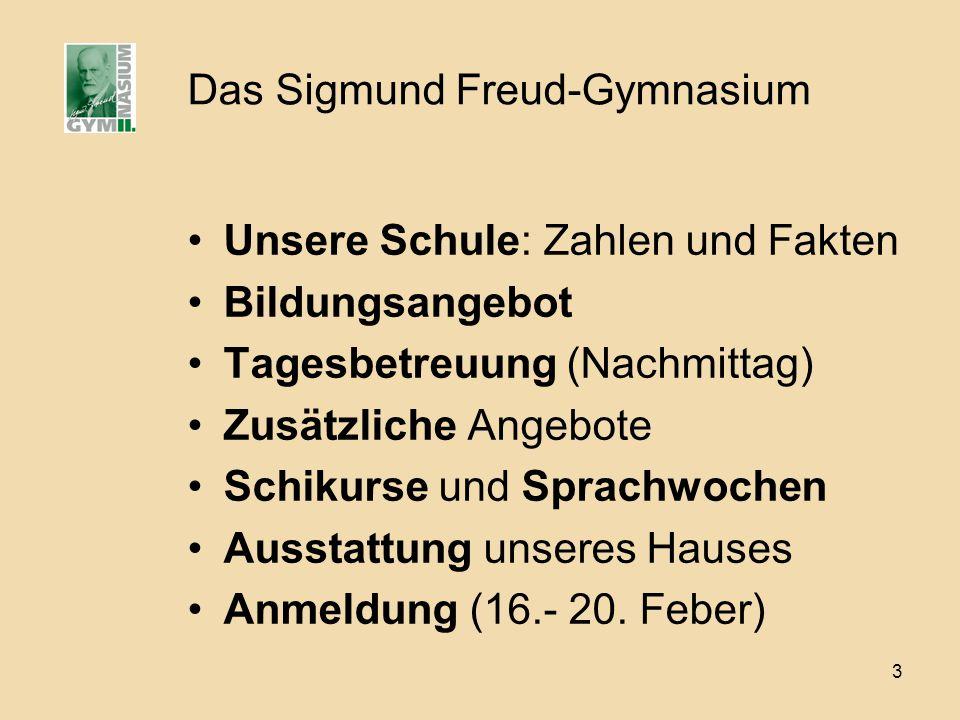 3 Das Sigmund Freud-Gymnasium Unsere Schule: Zahlen und Fakten Bildungsangebot Tagesbetreuung (Nachmittag) Zusätzliche Angebote Schikurse und Sprachwo