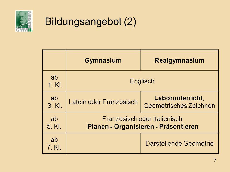 7 Bildungsangebot (2) GymnasiumRealgymnasium ab 1. Kl. Englisch ab 3. Kl. Latein oder Französisch Laborunterricht, Geometrisches Zeichnen ab 5. Kl. Fr