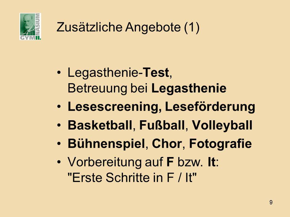 9 Zusätzliche Angebote (1) Legasthenie-Test, Betreuung bei Legasthenie Lesescreening, Leseförderung Basketball, Fußball, Volleyball Bühnenspiel, Chor,
