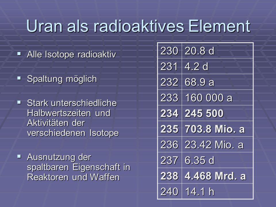 Uran als radioaktives Element Alle Isotope radioaktiv Alle Isotope radioaktiv Spaltung möglich Spaltung möglich Stark unterschiedliche Halbwertszeiten