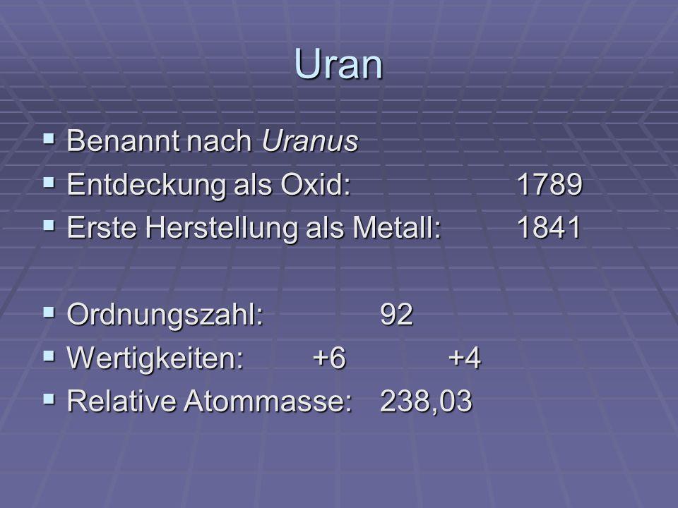 Vorkommen 2,9 * 10 -4 = 0,00029 % der Erdkruste 2,9 * 10 -4 = 0,00029 % der Erdkruste Kommt meist gemeinsam mit seltenen Erden vor; Z.B.: Monazitsand Kommt meist gemeinsam mit seltenen Erden vor; Z.B.: Monazitsand Uraninit (Pechblende)UO 2 / UO 3 Uraninit (Pechblende)UO 2 / UO 3 Carnotit KUVO 6 * 1,5 H 2 O Carnotit KUVO 6 * 1,5 H 2 O