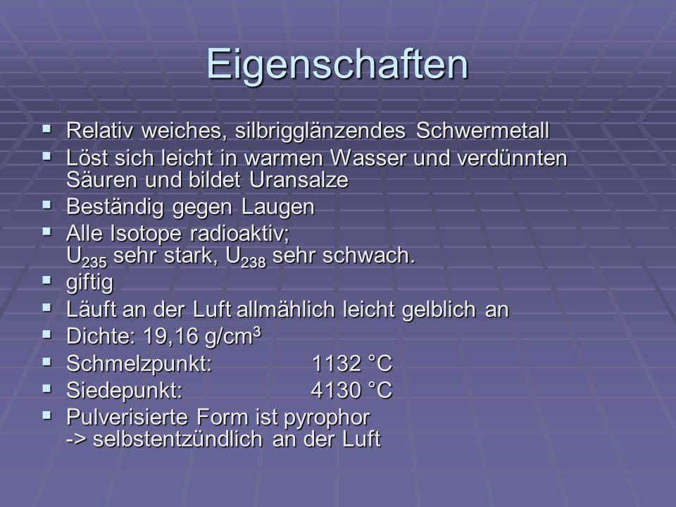 Eigenschaften Relativ weiches, silbrigglänzendes Schwermetall Relativ weiches, silbrigglänzendes Schwermetall Löst sich leicht in warmen Wasser und ve