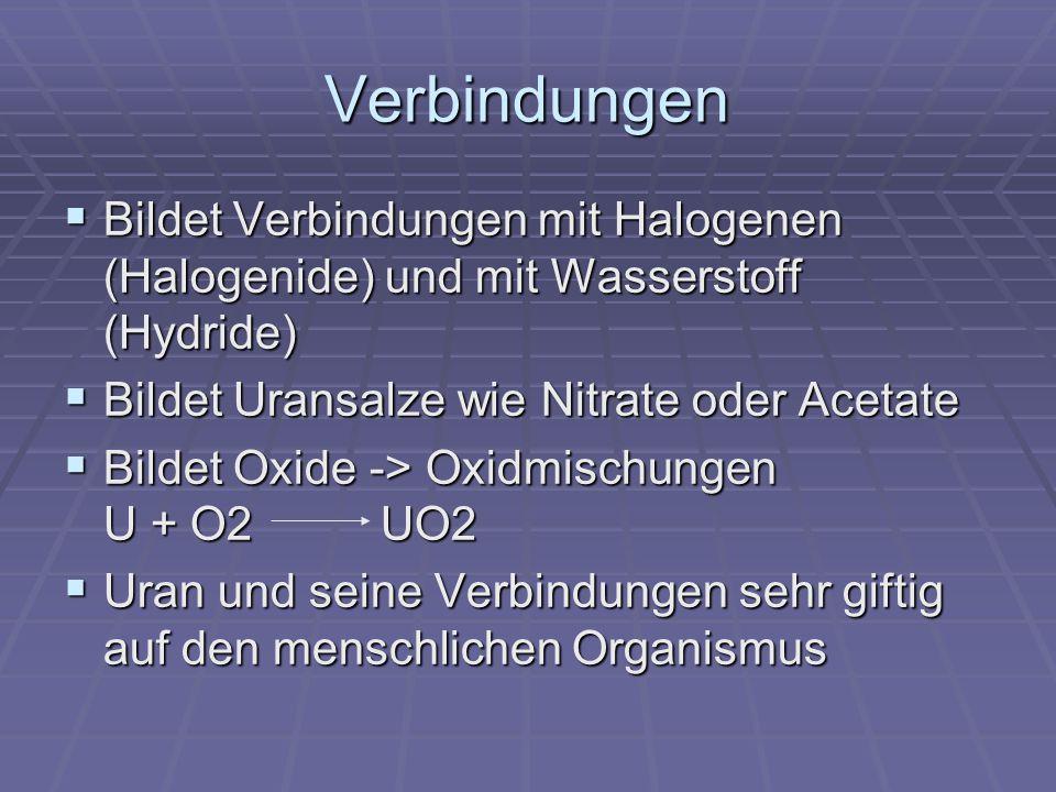 Herstellung Pechblende zerkleinern und von Gangart befreien Pechblende zerkleinern und von Gangart befreien Mit H 2 SO 4 UO 2 SO 4 Mit H 2 SO 4 UO 2 SO 4 Uranylsulfat durch Ionentauscher oder organ.