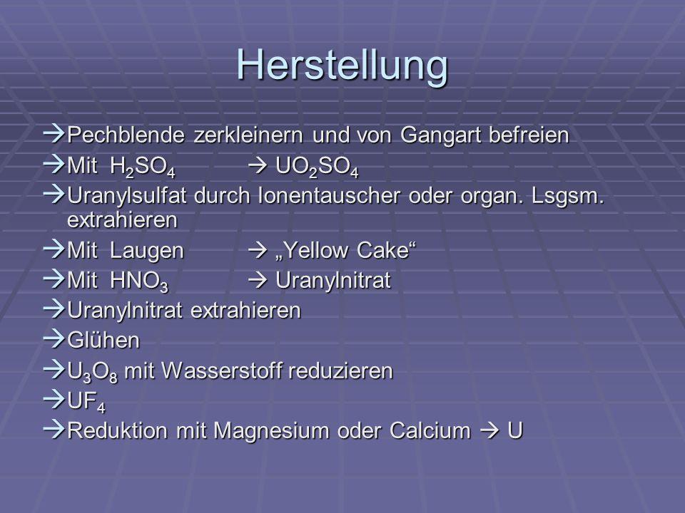 Herstellung Pechblende zerkleinern und von Gangart befreien Pechblende zerkleinern und von Gangart befreien Mit H 2 SO 4 UO 2 SO 4 Mit H 2 SO 4 UO 2 S