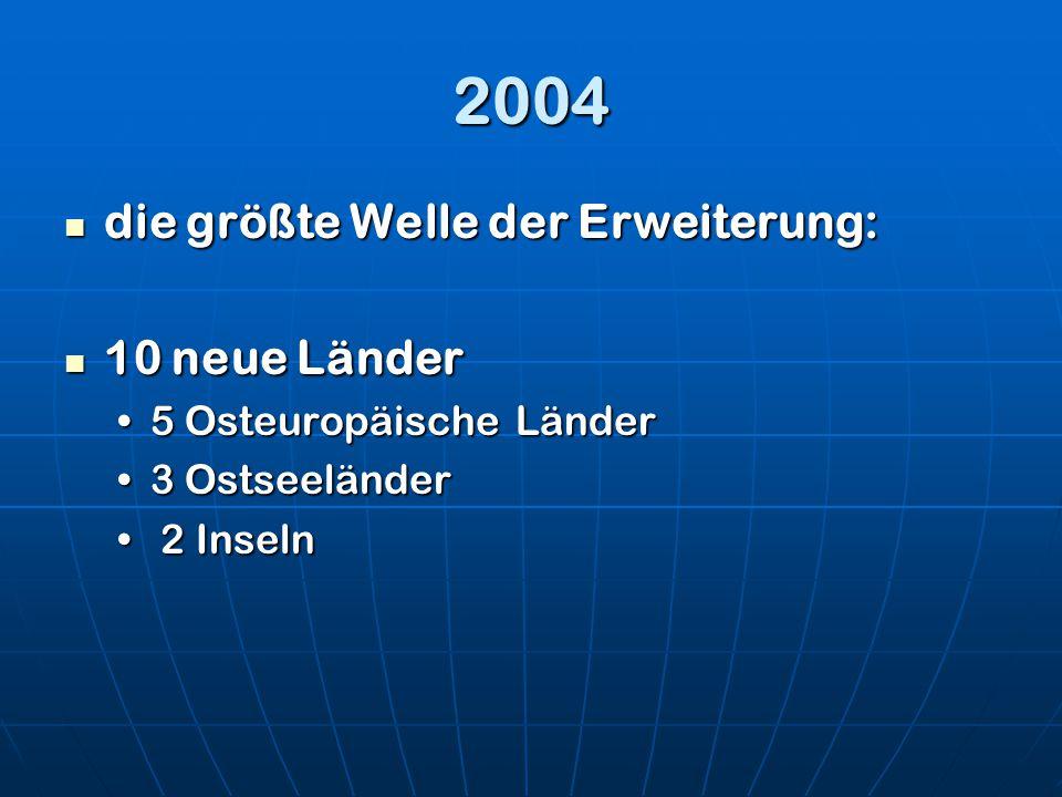 2004 die größte Welle der Erweiterung: die größte Welle der Erweiterung: 10 neue Länder 10 neue Länder 5 Osteuropäische Länder5 Osteuropäische Länder