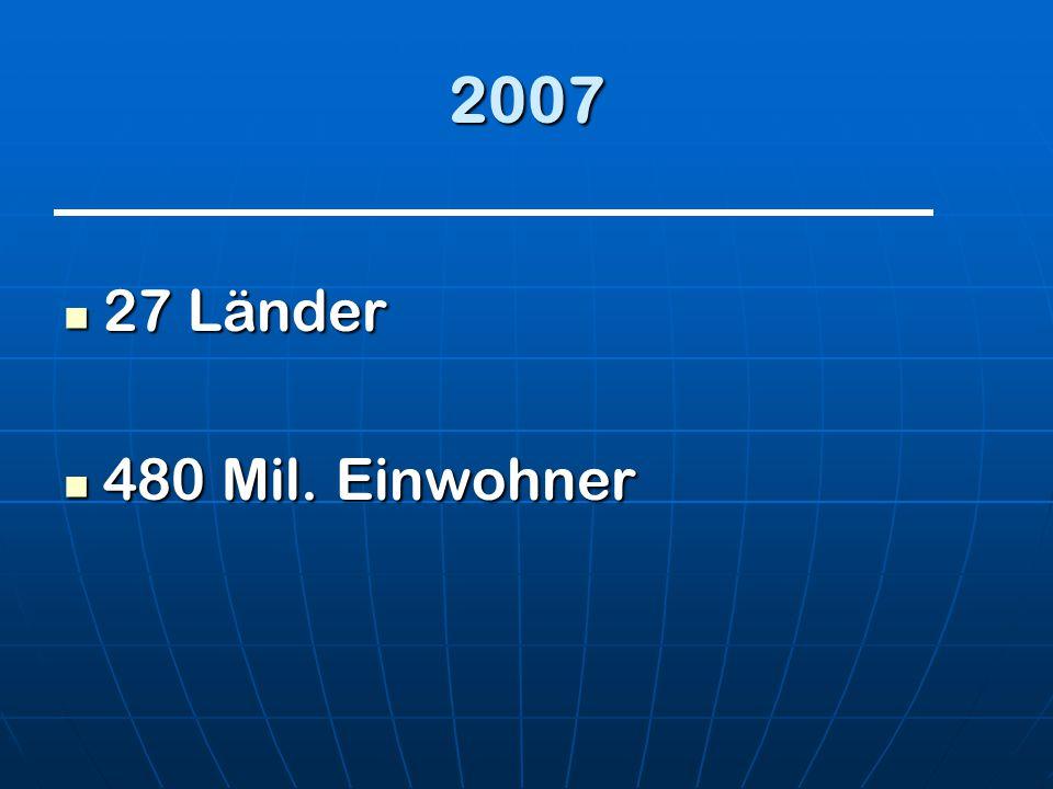 2007 27 Länder 480 Mil. Einwohner