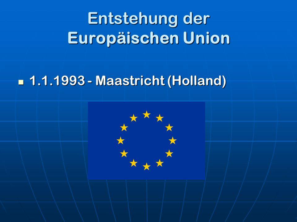 Entstehung der Europäischen Union 1.1.1993 - Maastricht (Holland) 1.1.1993 - Maastricht (Holland)