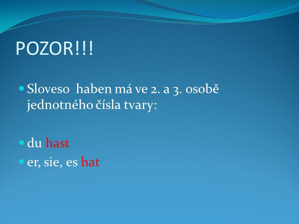 POZOR!!! Sloveso haben má ve 2. a 3. osobě jednotného čísla tvary: du hast er, sie, es hat