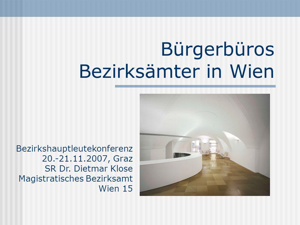 Bürgerbüros Bezirksämter in Wien Bezirkshauptleutekonferenz 20.-21.11.2007, Graz SR Dr.