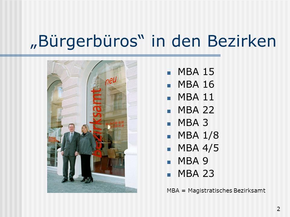 2 Bürgerbüros in den Bezirken MBA 15 MBA 16 MBA 11 MBA 22 MBA 3 MBA 1/8 MBA 4/5 MBA 9 MBA 23 MBA = Magistratisches Bezirksamt