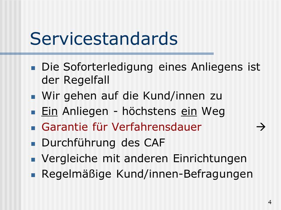 4 Servicestandards Die Soforterledigung eines Anliegens ist der Regelfall Wir gehen auf die Kund/innen zu Ein Anliegen - höchstens ein Weg Garantie für Verfahrensdauer Durchführung des CAF Vergleiche mit anderen Einrichtungen Regelmäßige Kund/innen-Befragungen