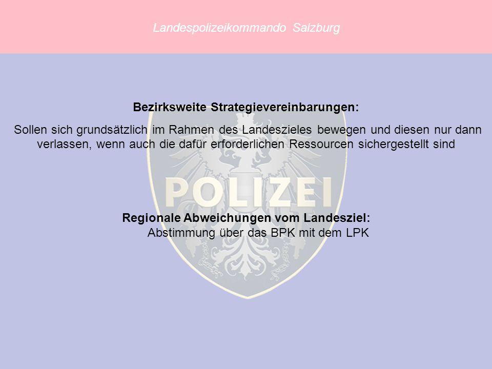 Landespolizeikommando Salzburg Bezirksweite Strategievereinbarungen: Sollen sich grundsätzlich im Rahmen des Landeszieles bewegen und diesen nur dann