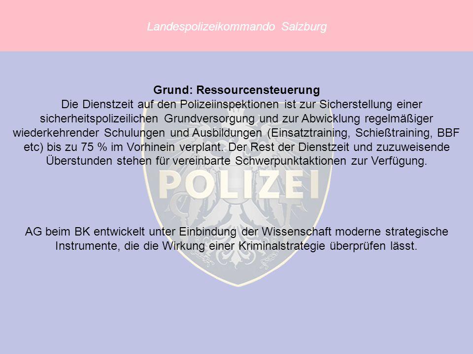 Landespolizeikommando Salzburg AG beim BK entwickelt unter Einbindung der Wissenschaft moderne strategische Instrumente, die die Wirkung einer Kriminalstrategie überprüfen lässt.