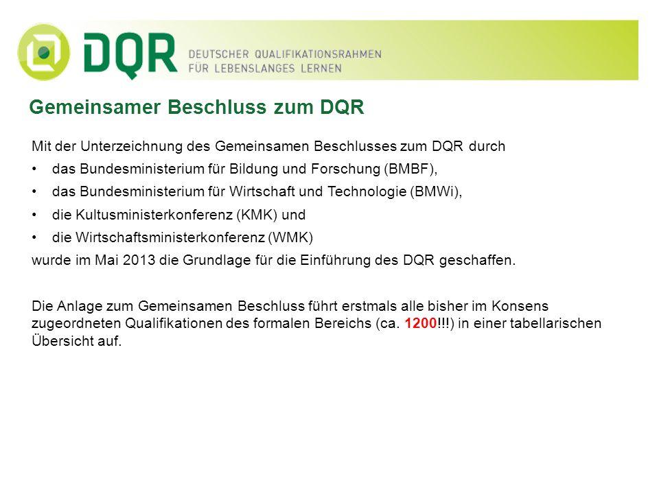 Gemeinsamer Beschluss zum DQR Mit der Unterzeichnung des Gemeinsamen Beschlusses zum DQR durch das Bundesministerium für Bildung und Forschung (BMBF