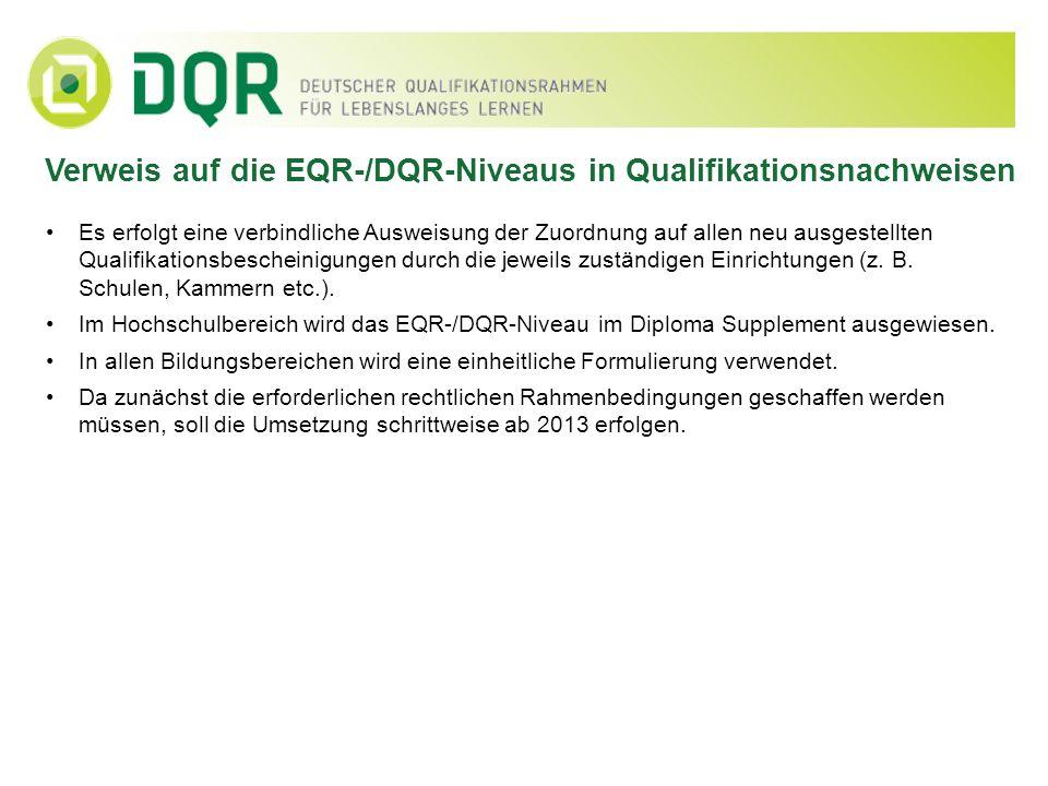 Verweis auf die EQR-/DQR-Niveaus in Qualifikationsnachweisen Es erfolgt eine verbindliche Ausweisung der Zuordnung auf allen neu ausgestellten Qualifi