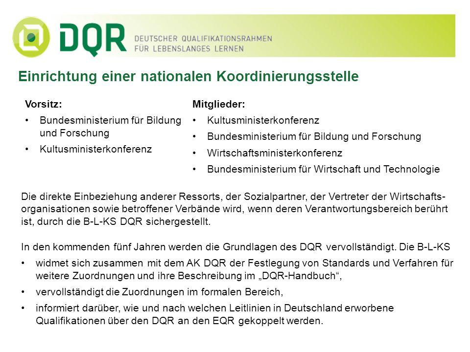 Einbeziehung nicht-formalen und informellen Lernens Neben Qualifikationen aus dem formalen Bereich sollen im nächsten Schritt auch Ergebnisse nicht-formalen Lernens dem DQR zugeordnet werden.