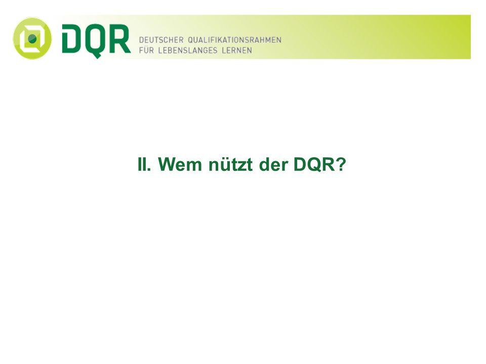 Ziele der DQR-Entwicklung Der DQR dient u.a.