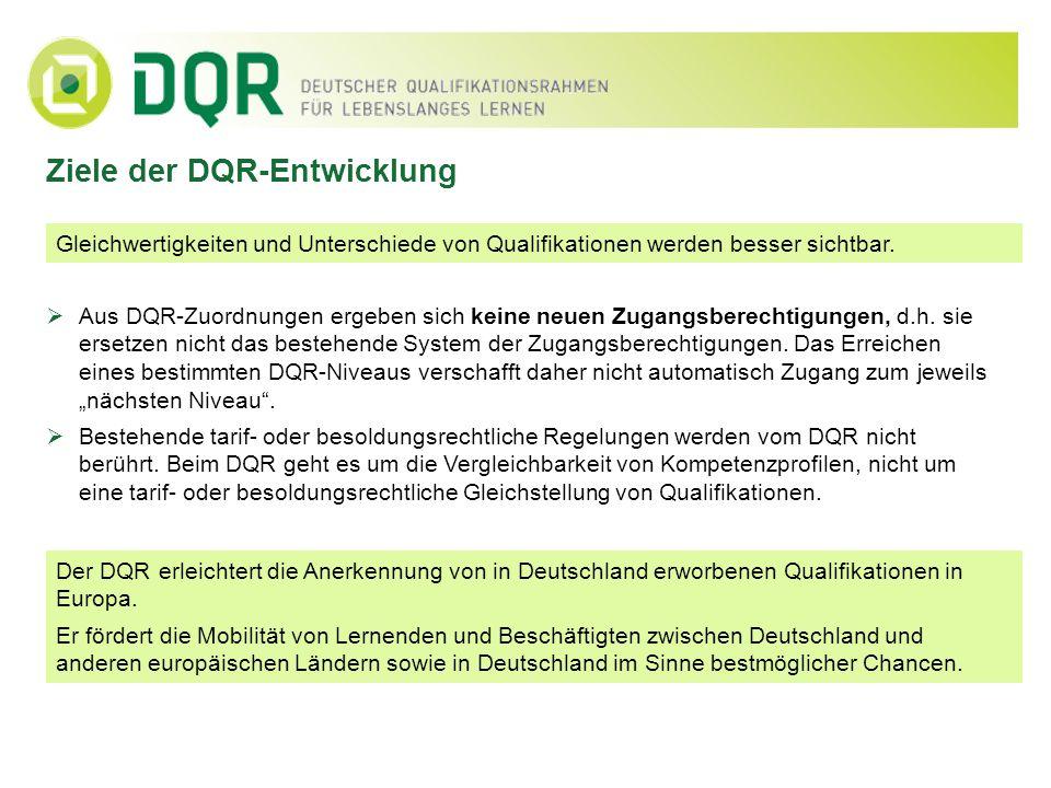 Ziele der DQR-Entwicklung Gleichwertigkeiten und Unterschiede von Qualifikationen werden besser sichtbar. Aus DQR-Zuordnungen ergeben sich keine neuen