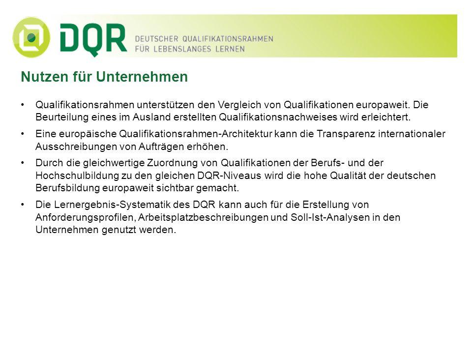 Nutzen für Unternehmen Qualifikationsrahmen unterstützen den Vergleich von Qualifikationen europaweit. Die Beurteilung eines im Ausland erstellten Qua