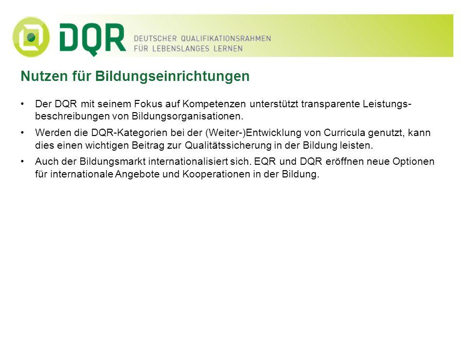 Der DQR mit seinem Fokus auf Kompetenzen unterstützt transparente Leistungs- beschreibungen von Bildungsorganisationen. Werden die DQR-Kategorien bei