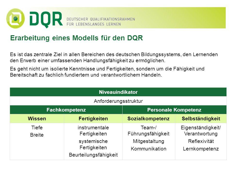 Erarbeitung eines Modells für den DQR Es ist das zentrale Ziel in allen Bereichen des deutschen Bildungssystems, den Lernenden den Erwerb einer umfass