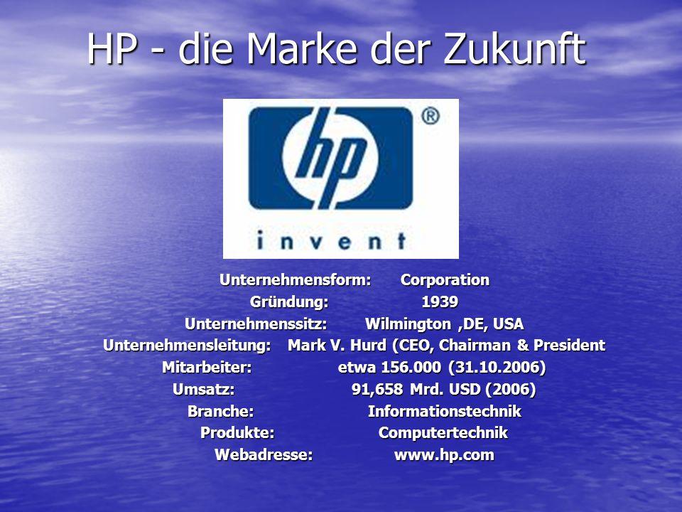 HP - die Marke der Zukunft Unternehmensform: Corporation Gründung: 1939 Unternehmenssitz: Wilmington,DE, USA Unternehmensleitung: Mark V. Hurd (CEO, C