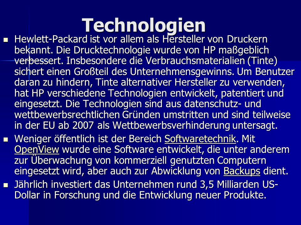 Technologien Hewlett-Packard ist vor allem als Hersteller von Druckern bekannt. Die Drucktechnologie wurde von HP maßgeblich verbessert. Insbesondere